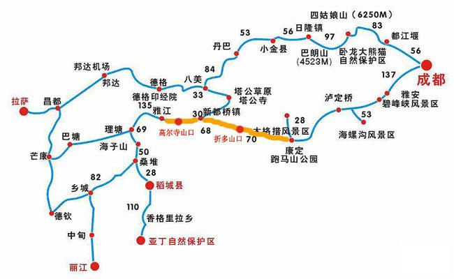 川藏南、北线路图-川藏线骑行 步行之路线图和简单介绍图片